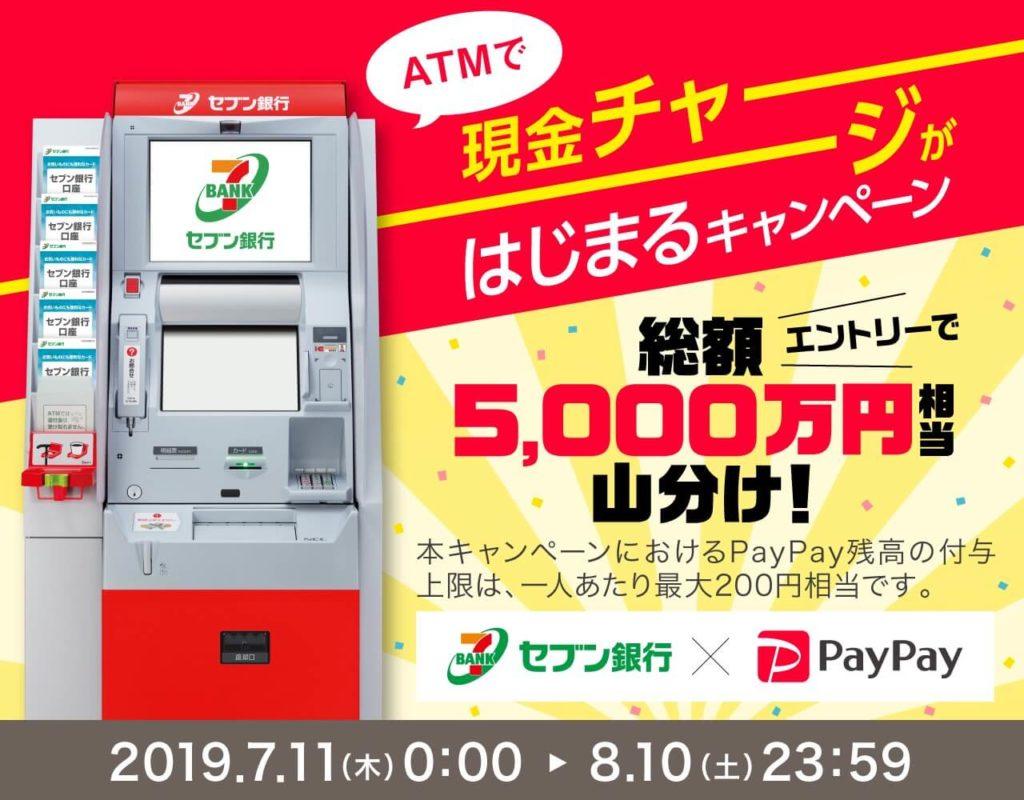 セブン銀行ATM現金チャージはじまるキャンペーン